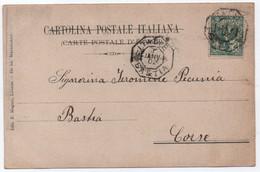 Entrée Maritime ITALIE / BASTIA Octogonal 1 JANVIER 1902 / Timbre Italien Carte Postale Vœux Nouvel An LIVOURNE > CORSE - Cachets Manuels