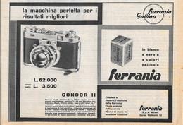 Fotocamera Condor II. Ferrania-Galileo. Advertising  1956 - Publicidad