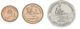 Guyana Set Of 3 Coins 2015-2018 UNC 1, 5, 10 Dollars - Guyana