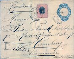 1896 , BRASIL , SOBRE ENTERO POSTAL CERTIFICADO , CAMPINAS - HAMBURGO , FR. COMPLEMENTARIO , TRÁNSITO Y LLEGADA - Briefe U. Dokumente