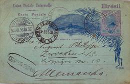 """1896 BRASIL , ENTERO POSTAL CIRCULADO , RIO DE JANEIRO - ZWICKAU , MARCA OVAL """" CORREIO URBANO """" , LLEGADA - Briefe U. Dokumente"""