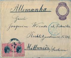 1897 , BRASIL - SOBRE ENTERO POSTAL CIRCULADO , PELOTAS / RIO GRANDE DO SUL - MITTWEIDA , PAQUEBOT  FRANCES , LLEG - Briefe U. Dokumente