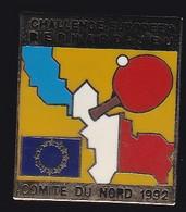 67664-Pin's.Tennis De Table.challenge Bernard Jeu.comité Du Nord..signé Club Intel - Table Tennis