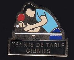 67669-Pin's.Tennis De Table.Oignies.Pas-de-Calais En Région Hauts-de-France.signé Club Intel. - Table Tennis