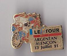 PIN'S THEME SPORTS / CYCLISME TOUR DE FRANCE  12 JUILLET 1991  ETAPE ARGENTAN ALENCON - Ciclismo