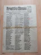 HRVATSKA OBRANA, OSIJEK 1920, 4 Page Old Newspaper - Boeken, Tijdschriften, Stripverhalen