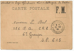 CARTE FM LE PERTHUIS 15.12.1939 PYRENEES ORLES + MENTION FORT DE BELLEGARDE - Lettere In Franchigia Militare