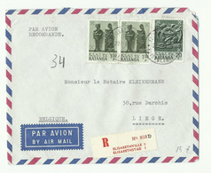 Lettre Par Avion Et Recommandée De ELISABETHVILLE 1 Le 22-11-1961 Vers Liège - 16310 - Katanga