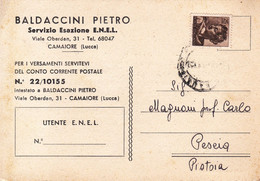 """CAMAIORE - LUCCA - CARTOLINA COMMERCIALE """"BALDACCINI PIETRO"""" - VIALE OBERDAN - SERVIZIO ESAZIONE E.N.E.L. - 1964 - Lucca"""