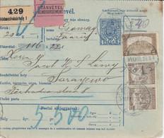 Bulletin D',expédition De HODMEZOVASAHELY Obl Du 18AUG 28 Adressée à Sarajewo - Paketmarken