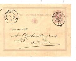 REF2019/ Entier CP 3 Plis C.Tamise 3/4/73 > Audenarde C.d'arrivée - Postcards [1871-09]