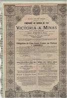 Titre Ancien - États-Unis Du Brésil - Compagnie Du Chemin De Fer De Victoria à Minas - S.A. Brésilienne - Obl. De 1906 - - Railway & Tramway