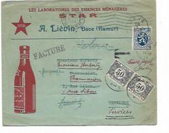 """LE 1010. TTx 39(2) VERVIERS Annulés En Rouge S/Lettre DAVE PUBLICITAIRE Vers Pharmacien REEXP. Nlle Adresse-""""taxe Payée"""" - Postage Due"""