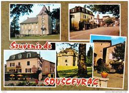 Carte Postale 46. Sousceyrac  Hotel Prunet  Chateau De Grignac  Chateau De Fraysse Trés Beau Plan - Sousceyrac