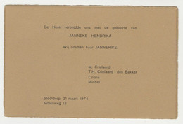 Geboortekaart-birthcard-Geburtskarte-carte De Naissance 1974 Slootdorp (NL) - Nacimiento & Bautizo