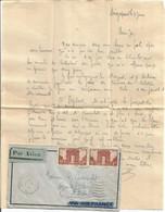 N°258 PAIRE LETTRE BATEAU AVION MARSEILLE A KOBE N° 2  7.6.1935 + CORRESPONDANCE SINGAPOUR RARE - Maritieme Post