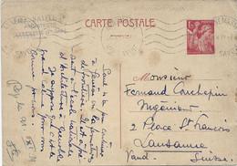 CARTE POSTALE IRIS 1,25 POUR LA SUISSE - ANNEMASSE HTE SAVOIE 25/10/1939 - Cartoline Postali Ristampe (ante 1955)