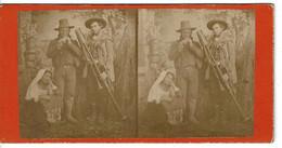 PHOTO (17x8,4cm Env.) - Photo Stéréoscopique MUSICIENS ET INSTRUMENTS . - Stereoscoop