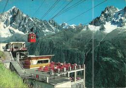(CHAMONIX ) ( MONT BLANC )( 74 HAUTE SAVOIE ) TERRASSE DE PANPRAZ ET LE TELEPHERIQUE  POUR LE BREVENT - Chamonix-Mont-Blanc
