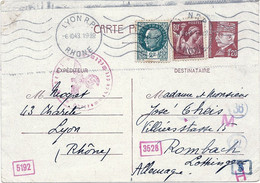 CARTE POSTALE PETAIN 1,20 + AFFRANCHISSEMENT COMPLEMENTAIRE POUR L'ALLEMAGNE - MULTIPLES CACHETS DE CONTROLE - 6/10/1943 - Overprinter Postcards (before 1995)