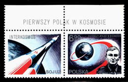 POLAND 1978 (NO DATE LABEL TYPE 9 VARIETY) 1ST POLE IN SPACE COSMOS INTERKOSMOS MNH Flight Space Travel - Ongebruikt