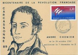 BICENTENAIRE DE LA REVOLUTION FRANCAISE (YT 2560) LOGOTYPE FOLON SUR CARTE ANDRE CHENIER 1er Janvier 1989 CARCASSONNE - French Revolution