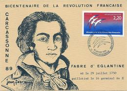 BICENTENAIRE REVOLUTION FRANCAISE (YT 2560) LOGOTYPE FOLON SUR CARTE FABRE D'EGLANTINE 1er Janvier 1989 CARCASSONNE - French Revolution