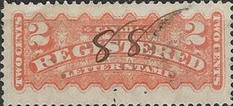 CANADA 1875 Registration Stamp - 2c - Orange PEN CANCELLATION - Recomendados