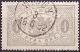 Zweden 1881-95 4öre Dienstzegel Perf 13 GB-USED - Service