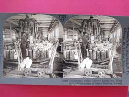PHOTO STÉRÉO  Manufacture De Papier En Norvège - Industrie - Ouvriers - TBE - Stereoscoop