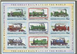 GRENADA / GRENADINEN / MiNr. 1500 - 1508 / Kleinbogen / Lokomotiven / Postfrisch / ** / MNH - Trenes