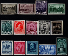 Romania 1939, Scott 475-488, MNH Imperf, King Carol / Charles - 1918-1948 Ferdinand, Charles II & Michael