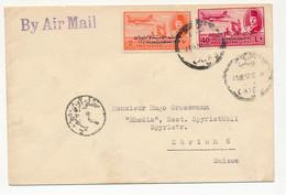 EGYPTE - Enveloppe Affranchissement Composé (Timbres Avion Surchargés) Le Caire 1952 - Covers & Documents