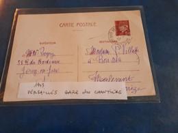 Entier Pétain 1943 GARE DES CHANTIERS VERSAILLES Pour Malemort Correze - Autres