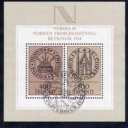 ICELAND 1982  NORDIA '84 Exhibition Block Cancelled.  Michel Block 4 - Gebruikt