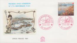 Enveloppe  FDC  1er  Jour   FRANCE   CROIX  ROUGE   TOULON   1991 - 1990-1999