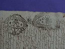 """1723 + 1727 Généralité De BOURGES Papier Double Timbrage N°141 + 151 De """"DIX DEN."""" TB - Gebührenstempel, Impoststempel"""
