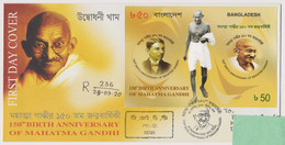 Bangladesh 2020 Mahatma Gandhi MS FDC First Day Registered Dhaka GPO No Violence Peace - Mahatma Gandhi