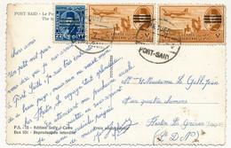 EGYPTE - Carte Postale De Port-Saïd - Timbres Surchargés, Oblit PAQUEBOT PORT SAID 1945 - Covers & Documents