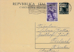 Trieste Zone A AMG-FTT 1951 Upfrnked Postal Stationery Sent To Austria - 7. Trieste