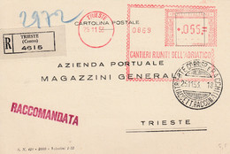 """Trieste Zone A AMG-FTT 1953 Recommended Postcard With Francotype """"CANTIERI RIUNITI DELL' ADRIATICO"""" - 7. Trieste"""