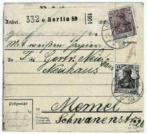 Germany Postal Stationery Berlin To  Memel Klajpeda Ostpreußen 2 IV 1919 Niemcy Całostka Pocztowa Berlin Prusy Wschodnie - Brieven En Documenten