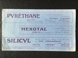 Buvard Publicitaire Médical Pyréthane - Hexotal - Silicyl - Produits Pharmaceutiques