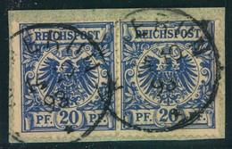 """1898, VORLÄUFER: Briefstück Mit 2-mal 20 Pfg. Krone/Adler """"KAMERUN"""" - Colony: Cameroun"""