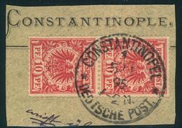 1895, VORLÄUFER, Schönes Briefstück Senkr. Paar 10 Pfg. Krone/Adler CONSTANTINOPEL - Offices: Turkish Empire