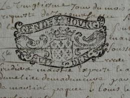 """1712 Généralité De BOURGES Papier Timbré N°110 De """"HUIT DEN."""" Quart De Feuille - Gebührenstempel, Impoststempel"""