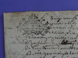 """1676 Généralité De BOURGES Papiers Timbrés N°34x2 De """"BERRY HUIT DEN. / LA DEMYE FEUILLE"""" - Gebührenstempel, Impoststempel"""