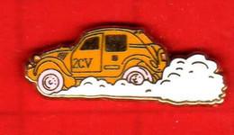 Pin's 2 CV Deux Chevaux  Citroën  ( Orangé ) Zamac  M.C - Citroën