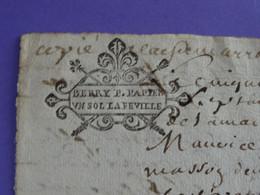 """1676 Généralité De BOURGES Papiers Timbrés N°35 Variante à Gauche De """"BERRY P. PAPIER / UN SOL LA FEUILLE"""" Cession - Gebührenstempel, Impoststempel"""