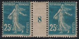 SEMEUSE - N°140 - 25c PAPIER GC EN PAIRE MILLESIME 8 - SANS TRACE DE CHARNIERE - COTE 45€. - Millesimes